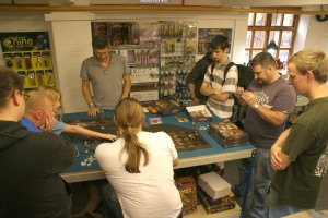 Ronnie Renton  from Mantic demoing Dwarf Kings Hold with a 3-up version